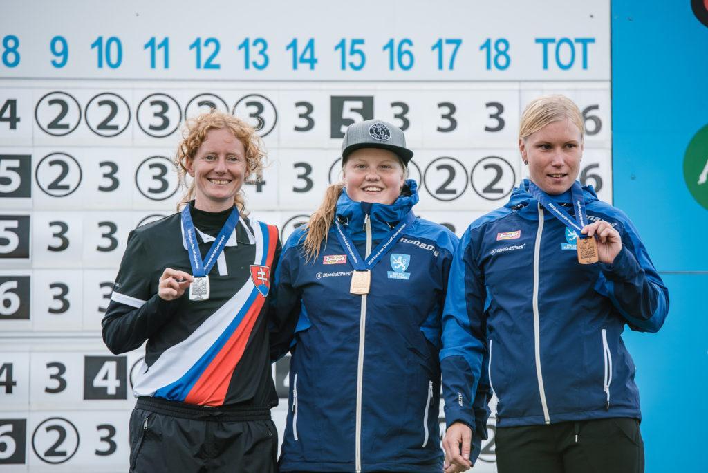 Naiset: 1. Eveliina Salonen (kesk), 2. Katka Bod'ová, Slovakia (vas), 3. Jenni Eskelinen